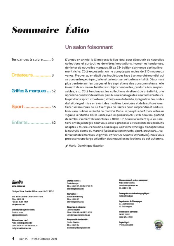 Bien Vu N° 281 - Octobre 2019 - Supplément Collection - Sommaire