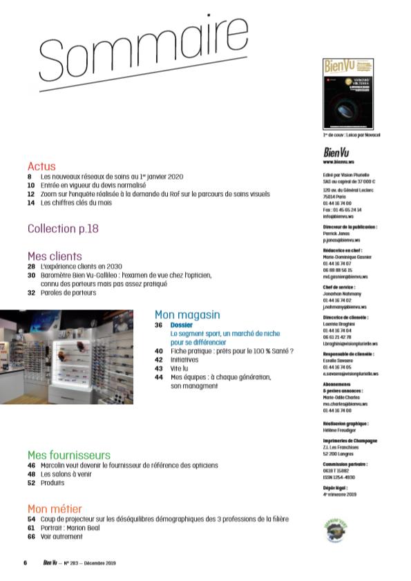 Bien Vu N° 283 - Décembre 219 - Sommaire