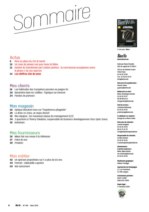 Bien Vu N° 286 - Mars 2020 - Sommaire
