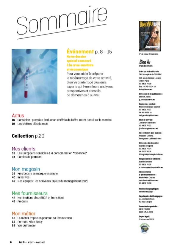 Bien Vu N° 287 - Avril 2020 - Sommaire