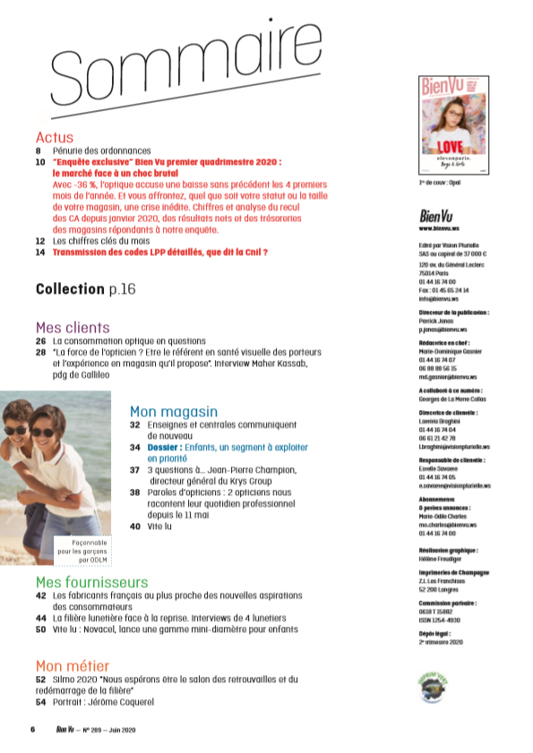 Bien Vu N° 289 - Juin 2020 - Sommaire