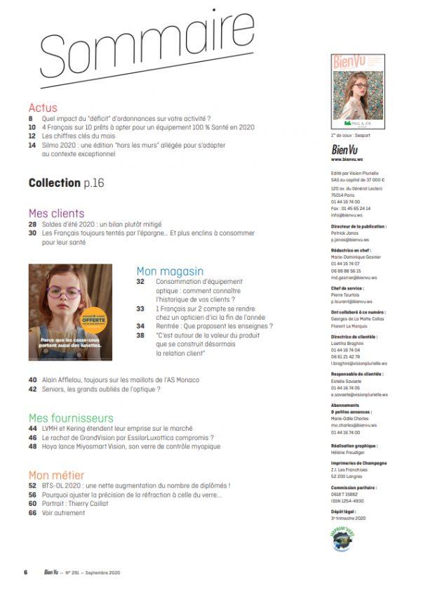 Bien Vu N° 291 - Septembre 2020 - Sommaire