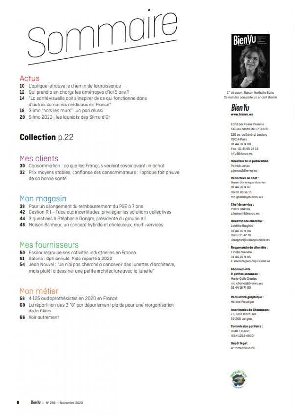 Bien Vu N°293 - Novembre 2020 - Sommaire