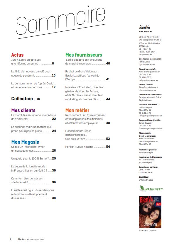 Bien Vu N°298 - Avril 2021 - Sommaire